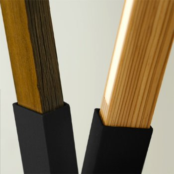 Shown in Matte Black finish with Maple, Walnut and Yellow Pine Mix, Detail view