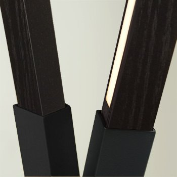 Shown in Matte Black finish with Ebonized Oak, Detail view