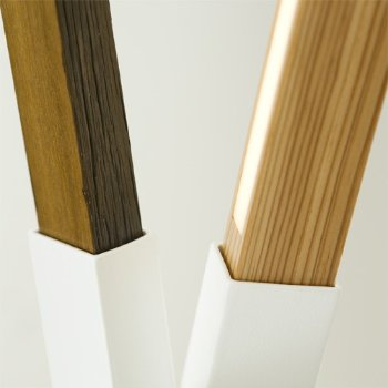 Shown in White finish with Maple, Walnut and Yellow Pine Mix, Detail view