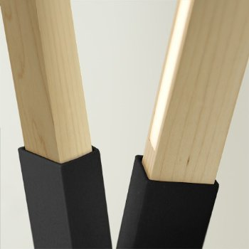 Shown in Matte Black finish with Maple, Detail view