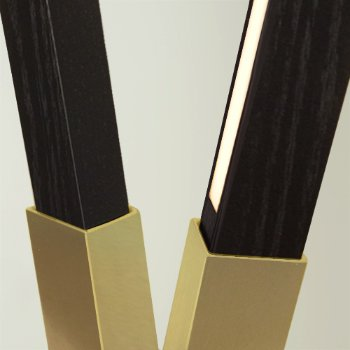 Shown in Brushed Brass finish with Ebonized Oak, Detail view