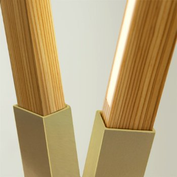 Shown in Brushed Brass finish with reclaimed Heart Pine, Detail view