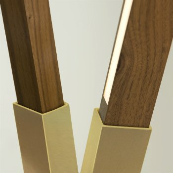 Shown in Brushed Brass finish with Walnut, Detail view