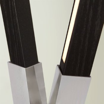 Shown in Brushed Nickel finish with Ebonized Oak, Detail view