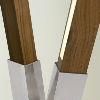 Shown in Brushed Nickel finish with Walnut, Detail view