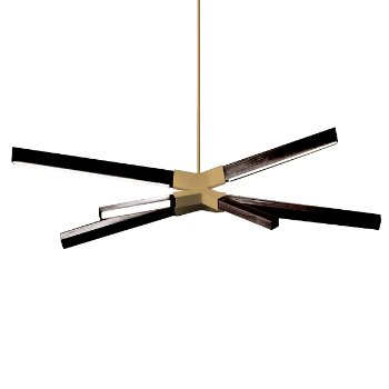 Shown in Brushed Brass finish with Ebonized Oak, Little Sky Bang