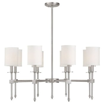 Shown in Satin Nickel finish, 8 Light