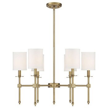 Shown in Warm Brass finish, 6 Light