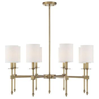 Shown in Warm Brass finish, 8 Light