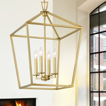 Shown in Warm Brass finish, 4 Light, in use