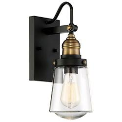 Macauley Outdoor Wall Light (Black w/ Brass/21 In) -OPEN BOX