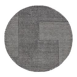 Stripe Rug Round White