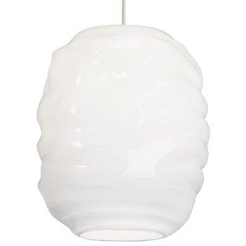Shown in White glass color, Satin Nickel finish