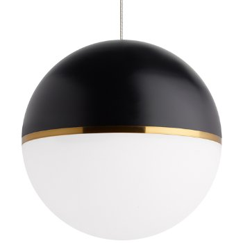 Shown in Matte Black/Aged Brass shade with Satin Nickel finish