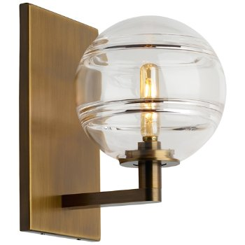 Shown in Clear glass, Aged Brass finish