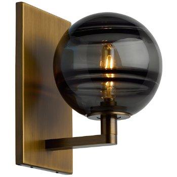 Shown in Smoke glass, Aged Brass finish, lit