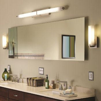 Shown in Metro Long Bath Bar with Cosmo Wall Sconce