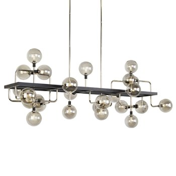 Shown in Smoke/Polished Nickel finish, lit