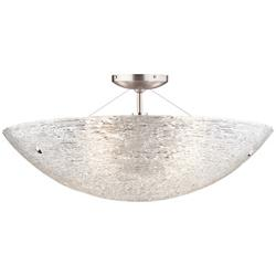 Trace Semi-Flush Ceiling Light (Satin Nickel/Clear)-OPEN BOX
