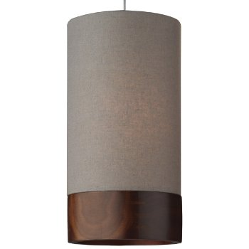 Shown in Heather Gray with Walnut shade, Satin Nickel finish