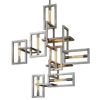Shown in Silver Leaf with Stainless Accents finish, 9 Light