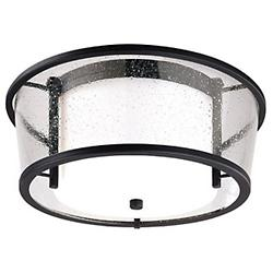 Bennington Outdoor Flushmount Lantern (Opal/Bronze)-OPEN BOX