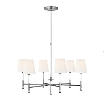 Shown in  Polished Nickel finish, 6 Light Option