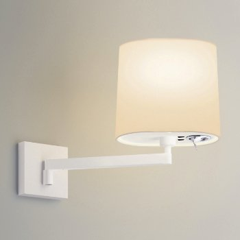 Shown in Matte White finish, Shade + LED option