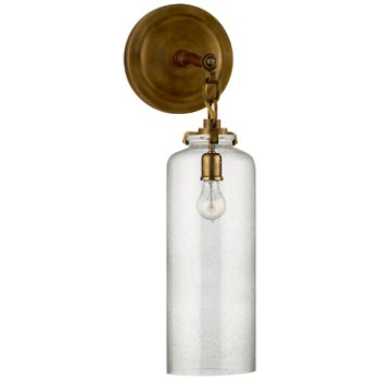 Shown in Hand-Rubbed Antique Brass finish with Seeded shade