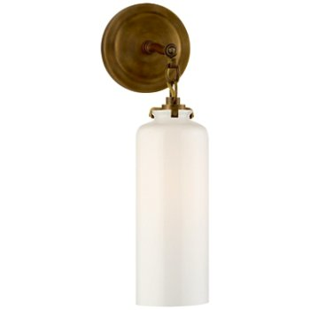 Shown in Hand-Rubbed Antique Brass finish with White shade