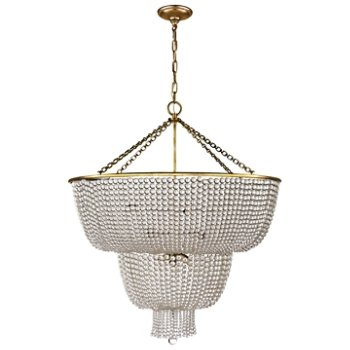 Shown in Clear Glass Shade with Hand-Rubbed Antique Brass finish
