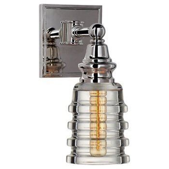 Shown in Clear Ribbed Narrow shade with Polished Nickel finish
