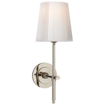 Shown in Polished Nickel finish with White Glass