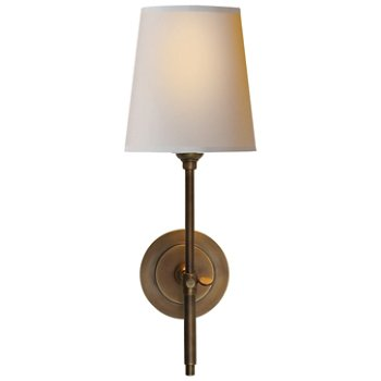 Shown in Hand-Rubbed Antique Brass finish with Natural Paper