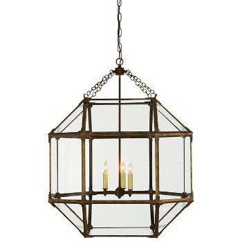 Shown in Clear shade color, Gilded Iron finish
