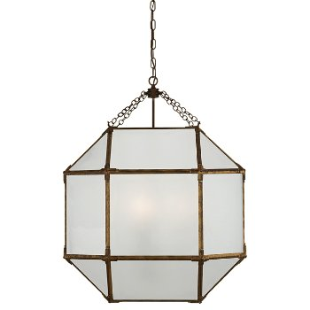 Shown in Frosted shade color, Gilded Iron finish