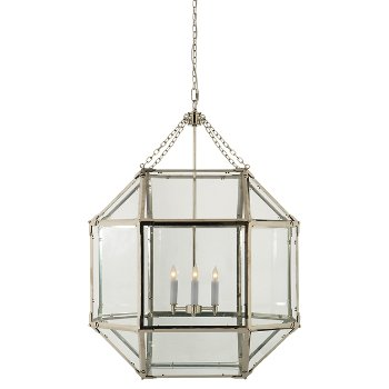 Shown in Clear shade color, Polished Nickel finish