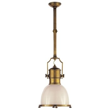 Shown in Antique-Burnished Brass with White Glass finish, Small size