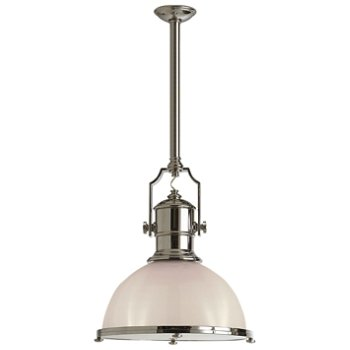 Shown in Polished Nickel with White Glass finish, Large size