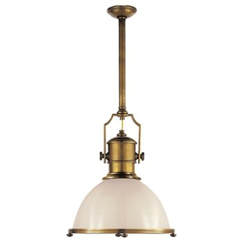 Shown in Antique-Burnished Brass with White Glass finish, Large size