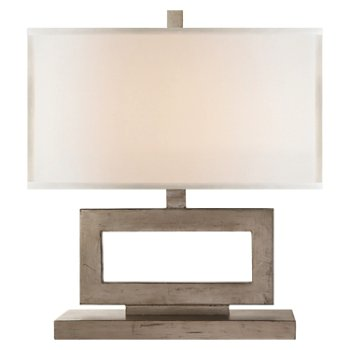 Shown in Burnished Silver Leaf with Linen Shade