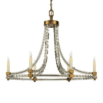 Crystal cube oval flatline chandelier by visual comfort at for Andy singer visual comfort