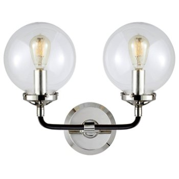 Shown in Polished Nickel with Black Trim finish, 2 Light