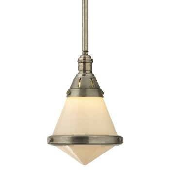Shown in White Glass shade with Antique Nickel finish