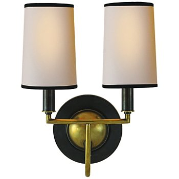 Shown in Bronze/Hand-Rubbed Antique Brass/Natural Shade with Black Tape