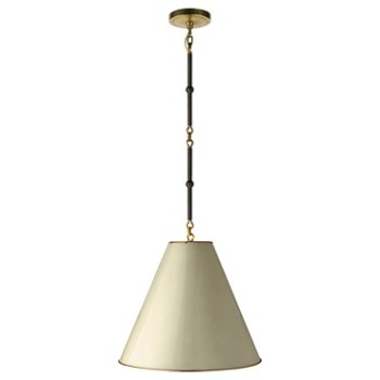 Shown in Antique White/Brass Interior, Bronze/Hand-Rubbed Antique Brass, Small