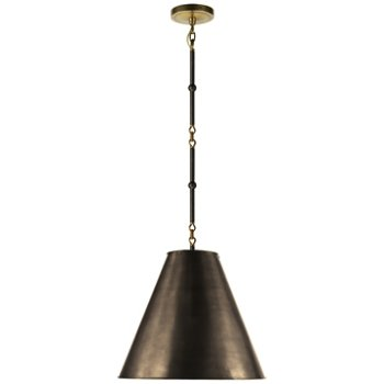 Shown in Bronze with White Interior and Bronze/Hand-Rubbed Antique Brass finish, Small size