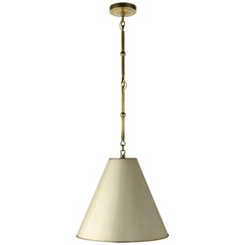 Shown in Antique White with Brass Interior and Hand-Rubbed Antique Brass finish, Small size