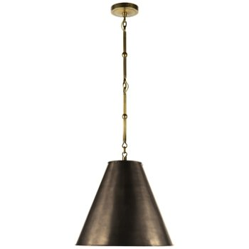Shown in Bronze with White Interior and Hand-Rubbed Antique Brass finish, Small size