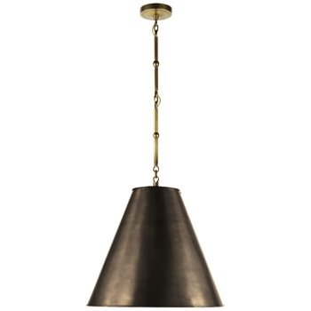 Shown in Bronze with White Interior and Hand-Rubbed Antique Brass finish, Medium size